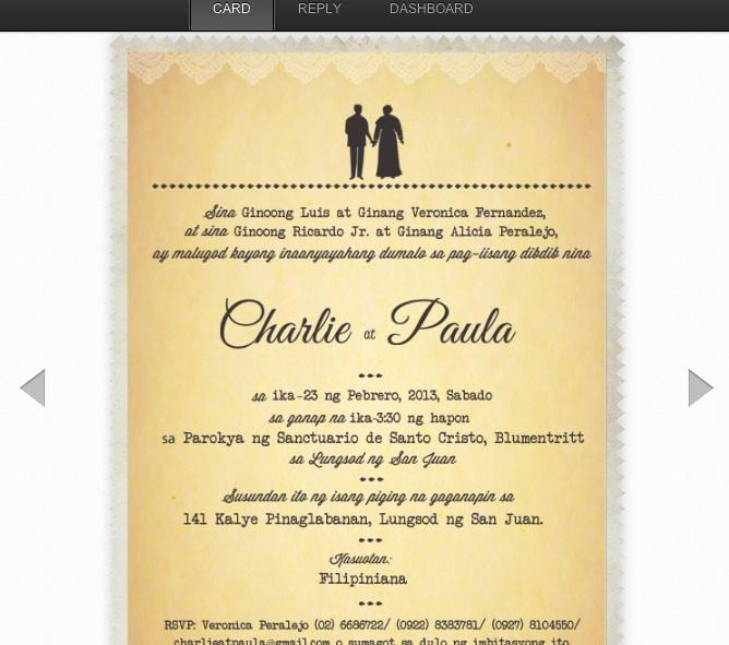 Filipino wedding invitation sample invitationswedd wedding invitation wording examples philippines yaseen for stopboris Choice Image